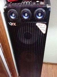 black Qfx speaker with stereo mixer 1264 mi