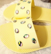 Yellow Slide Sandals With Stone WINCHESTER