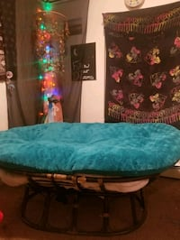 blue and black floral bed
