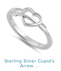 Sterling Silver Cupid's Arrow Heart Ring size 8 & 6 Vaughan, L4L 1G2