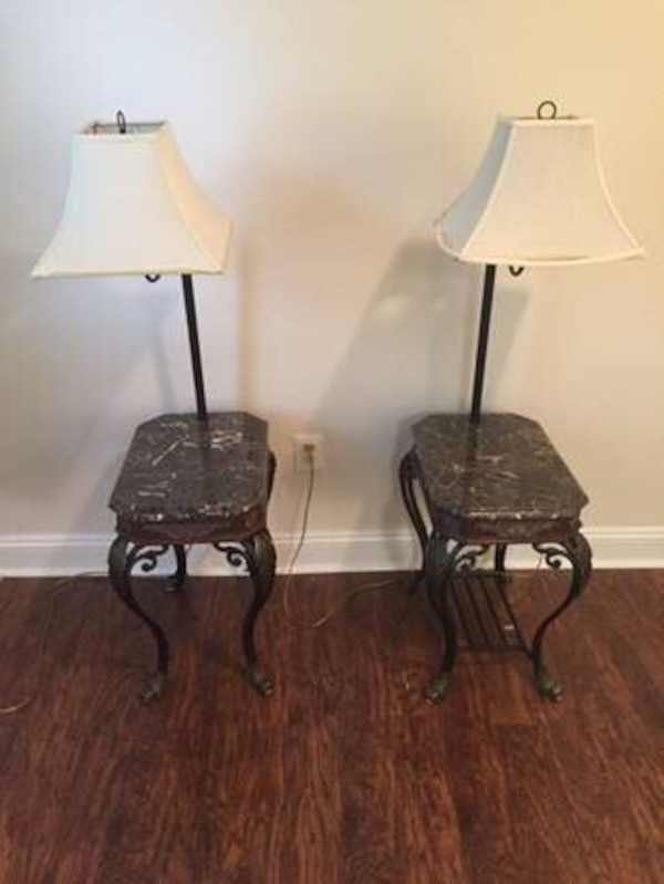 Pair of granite top end tables with built in lamps