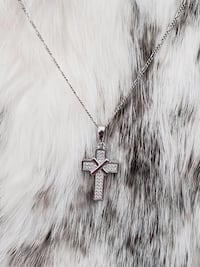 Sterling Silver Figaro Cross Necklace