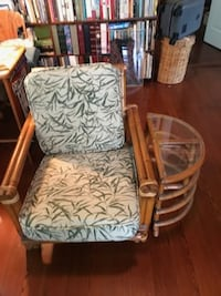 vintage rattan chair and table w/glass top