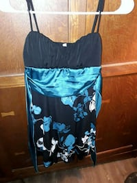 women's black & blue floral spaghetti strap dress Gold Hill, 97525