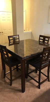 rectangular brown wooden table with six chairs dining set Frederick, 21702
