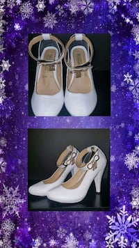 pair of white leather open-toe heeled sandals Baton Rouge