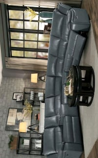 Falun Gray Leather Gel Power Reclining Sectional | Houston