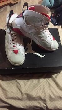 Pair of white-and-red air jordan 6 with box