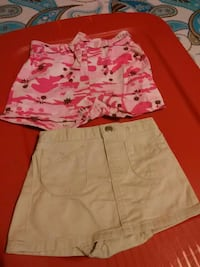 two brown-and-pink short shorts