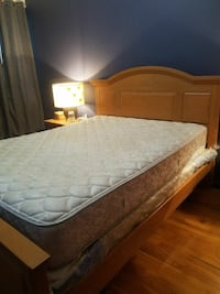 Queen bed frame and night stand hardwood
