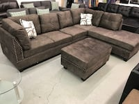 Brand new brown fabric sectional sofa with storage ottoman on sale 多伦多, M1S 1M6