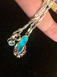 """Silver and blue gemstone with purple crystals sandal flip - flop , very nice 18"""" inch long sterling silver chain . Alexandria, 22311"""
