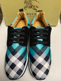 Burberry Blue Plaid Runners Sneakers Size 10.5/11 Silver Spring, 20904