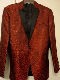 Red and black Italian suit jacket and matching ves