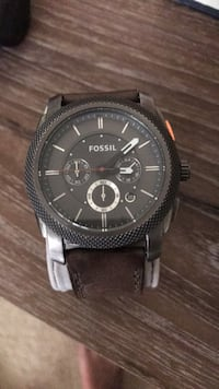 round black Fossil chronograph watch with link bracelet Hilliard, 43026