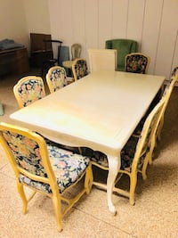 rectangular white wooden table with six chairs dining set Newport Beach, 92625