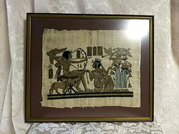 Framed Egyptian Papyrus painting 71acb1c3-049b-4838-a0e5-752125a1e8a8