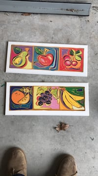 two panel paintings of fruits