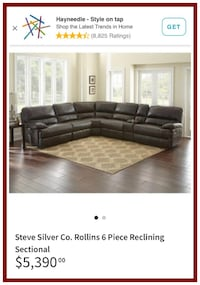 6PC Top Grain Leather Sectional Closeout - Brand New Windsor Mill