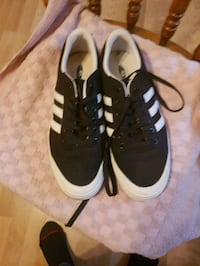 pair of black-and-white Adidas sneakers Barrie, L4M 1S3