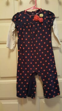 black and red polka dots onesie