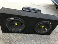 Black kicker subwoofer with enclosure with 1k watts Alpine AMP Los Angeles, 91344