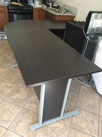 rectangular black wooden table with black metal base Los Angeles, 91423