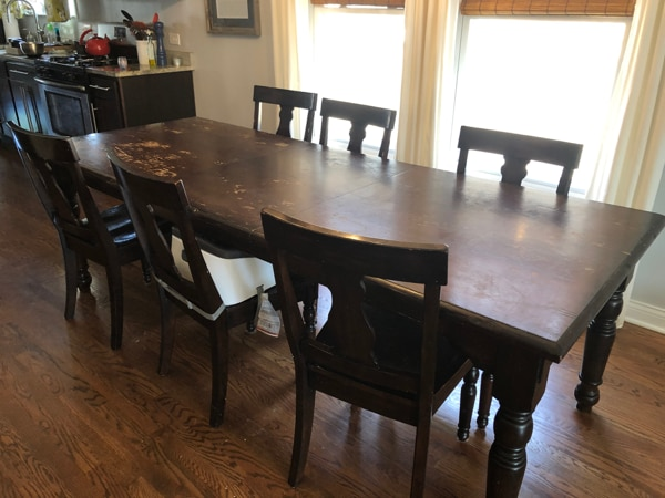 Pottery Barn large solid wood dining table with 6 chairs