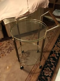 Glass Bar Cart on Rollers