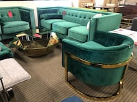4pc green velvet sofa chair accent chair and gold coffee table  Alexandria, 22312
