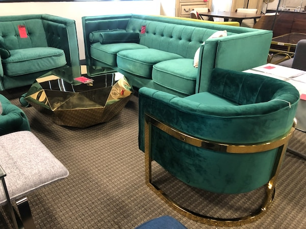4pc green velvet sofa chair accent chair and gold coffee table