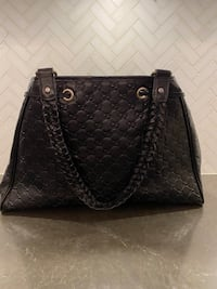 Authentic Black Leather Gucci Purse with Braided Strap