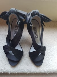 pair of black leather open toe ankle strap heels Surrey