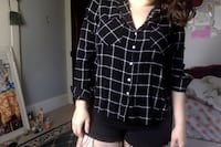 Black and White Checkered Button Down Honey Brook