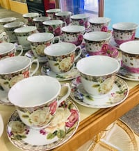 white and pink floral ceramic cup and saucer set lot Hamtramck, 48212