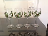4 Wine Glasses with Handpainted Hollys Bethesda, 20814