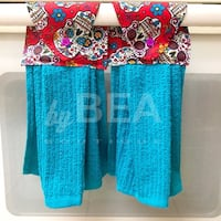 Two (2) Candy Skulls Kitchen Towels - Teal blue Tampa, 33612