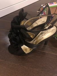 pair of black leather open-toe ankle strap heels Richmond Hill, L4E 0Z6