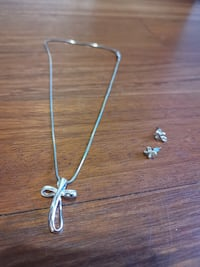 Silver Plated Cross and Earrings