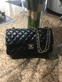 black Chanel leather quilted crossbody bag Little Elm, 75068
