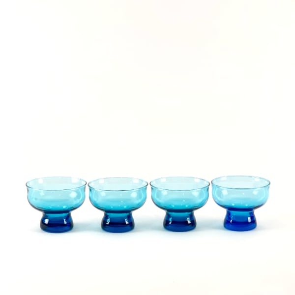 4 MCM Danish Peacock Blue Footed Bar Glasses