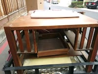 rectangular brown wooden table with chairs 2390 mi