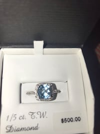GENUINE DIAMOND & TOPAZ RING 10k white gold  Albuquerque, 87114