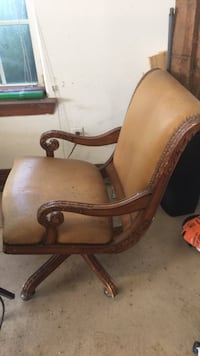 leather and real wood office chair Orange, 77630