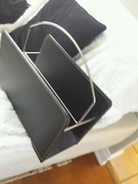 black  leather magazine holder 20.
