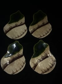 Set of 4 Japanese Handmade Clay Pottery Gourd Shaped Trays/Teabag Rests/Spoon Holders ~ Marked Rancho Cordova, 95670