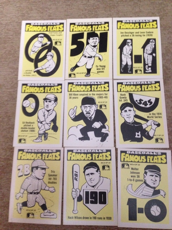 1986 Fleer Baseball Famous Feats 20 Cards