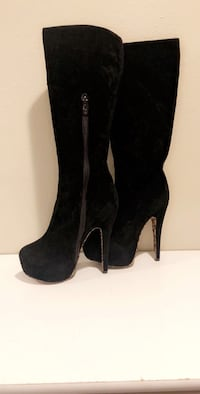 pair of black suede side-zipped platform stiletto knee-high boots 2236 mi