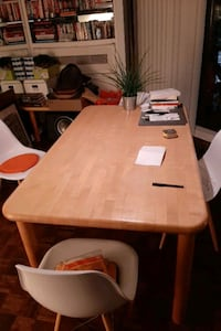Solid wood dining table & matching side table