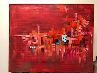 Red, pink, and orange abstract painting Cincinnati, 45229